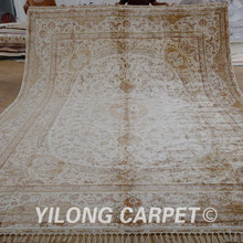 Yilong 10.2'x14.1′ Tabriz silk rug large antique beige medallion persian silk carpet (1590)