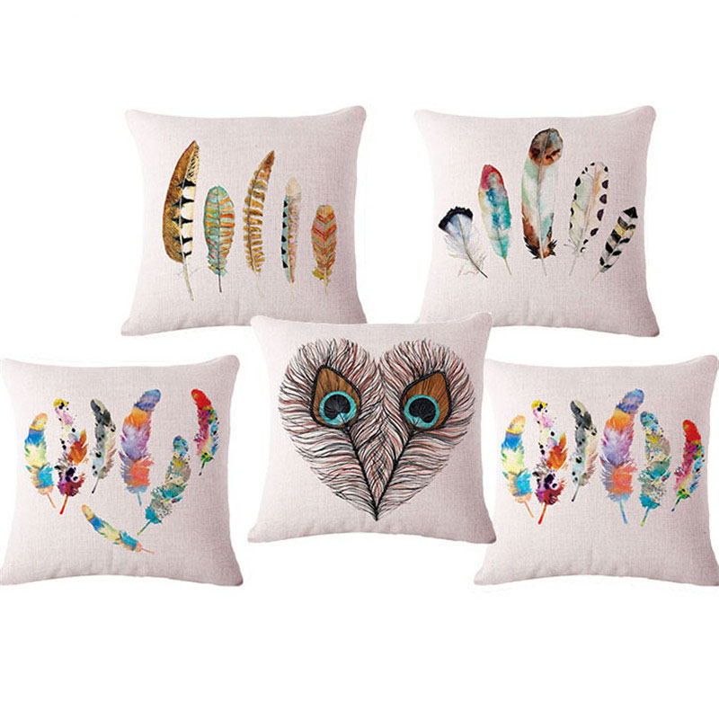 Decorative Throw Pillows Cushions Without Insert Digital Printing Feather  Sofa Chair Seat Back Almofadas Housse Coussin Cojin