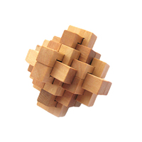6 PCS 3D IQ Game Fun Puzzle Wooden Intelligence Brain Teaser Toy For Party Favors Kids