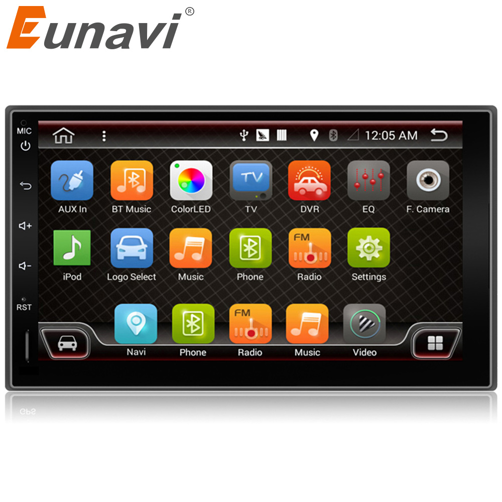 Eunavi 7 in dash 2 Din 1024*600 Android 6.0 7.1 Car Tap PC Tablet 2din Universal GPS Navigation Radio Stereo Audio Player no cd