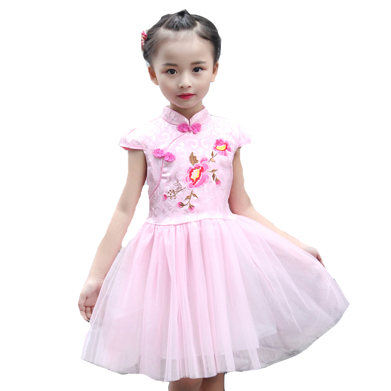Kids Dresses For Girls Embroidered Flowers Girls Wedding Party Dress Cotton Short Sleeve Girls Qipao Summer Children Cheongsam