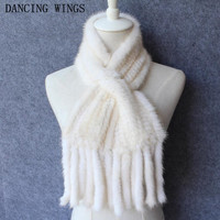 women winter Real mink Fur Scarf Good quality knitted wrap cape Neck Warmer Poncho Fur Shawl genuine mink fur scarf