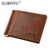 GUBINTU Famous Brand Men S Money Clip Vintage Genuine Cowhide Leather Portfolio Men Wallets Open Clamp