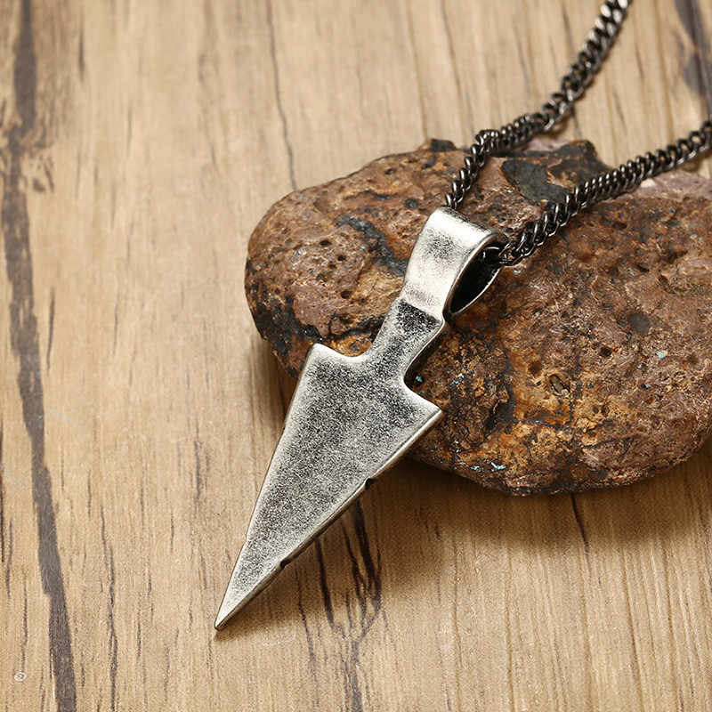Vnox Vintage Rock Striking Men's Spearhead Arrowhead Pendant Necklace for Men Special Surf Bike Stainless Steel Necklace Jewelry