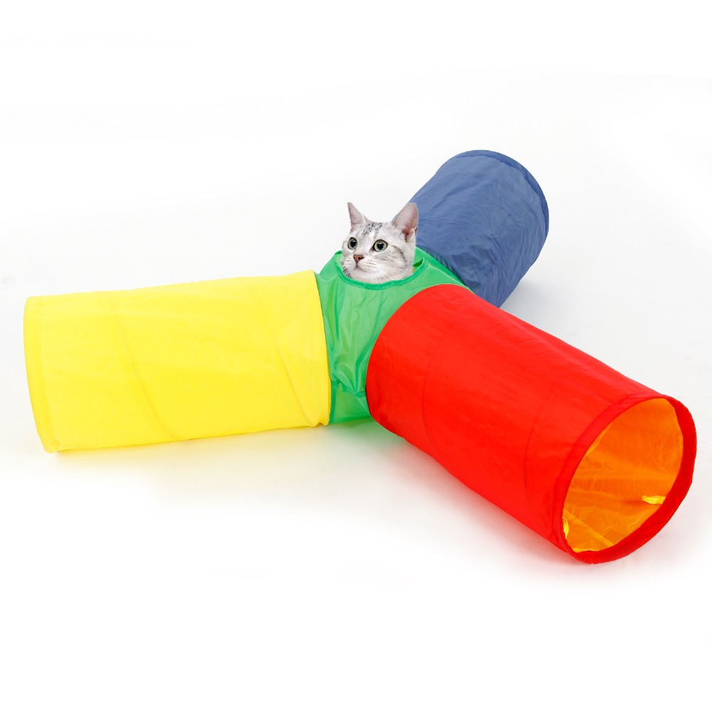 Pet Supplies Funny Playing Cat Tunnel Crinkle With Ring Bell Kitten Toy Collapsible Bulk Rabbit Tunnel Toys Play Tunnel image