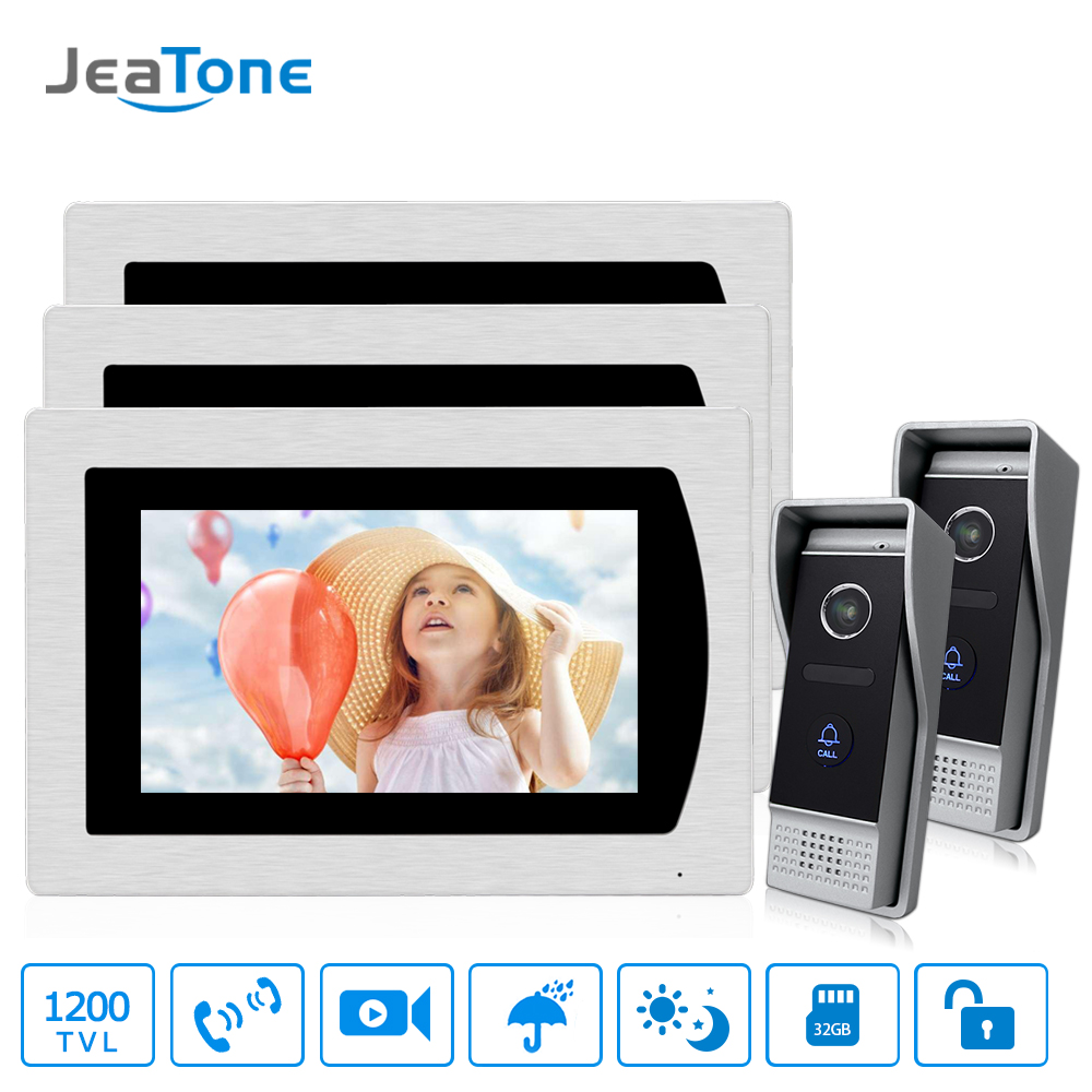 "7"" Touch Screen Video Door Phone Intercom Speaker Doorbell 4-Wired Waterproof Intercom System Unlocking Motion Detection 2 to 3"