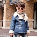 Chaqueta de invierno Para Niños de Cachemir Gruesa Niños Denim Jacket Coat 2-6 Años Los Niños ropa de Abrigo y Abrigos Bebé Niños Parka Infantil ropa