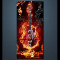 3 Piece HD Printed Burning Flame Fire Music Guitar Wall Pictures For Living Room Game Posters And Prints Quadros Decorativos