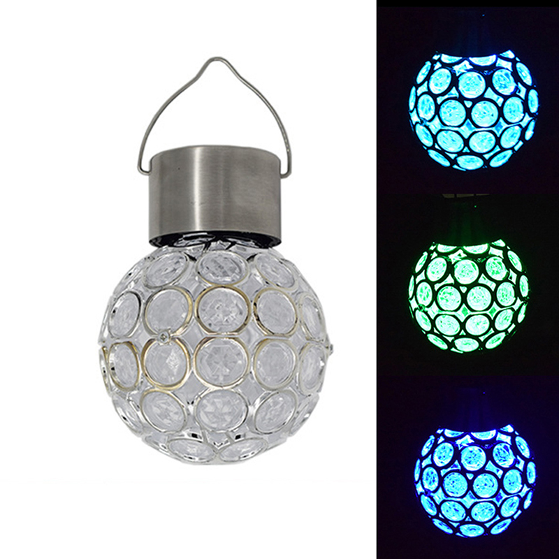 Garden Home Decor Hollow Globe Style Light Solar Hanging LED Pendant Lamp Color Change Lantern Outdoor Solar Lamp