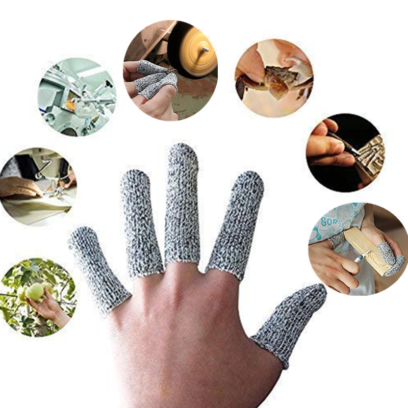 10Pcs Reusable Cut Resistant Finger Cots Level 5 Protection Anti-Cut Fingertips Protector Hands Finger For Kitchen, Work, Sculpt