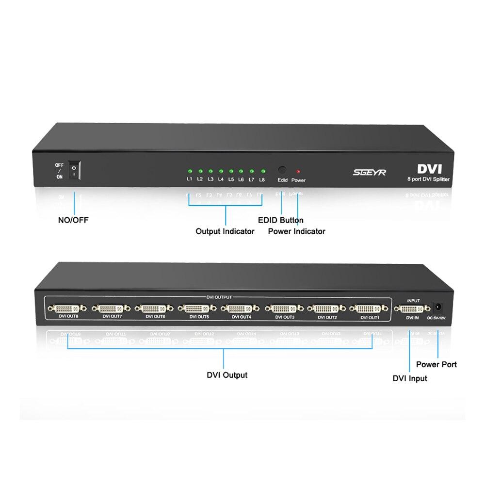 8 Port DVI Splitter SGEYR 1x8 Mulit-Displays Distribution 1 INPUT 8  OUTPUT DVI Splitter up to 1920*1440 with power adapter