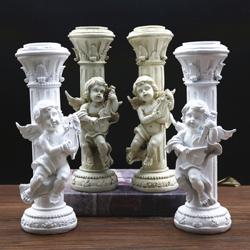 Cupid Candleholder Statue Angel Marble Pillar Figurine Roman Mythology Art Sculpture Resin Craftwork Home Decoration R410