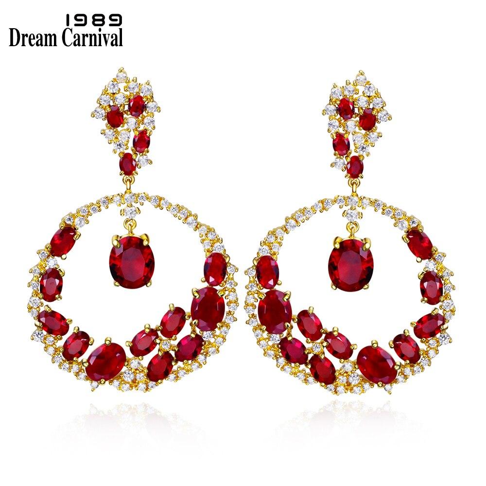 Dreamcarnaval 1989 conception Unique Grade AAA cubique zircone bijoux de mariage Dangles rouge violet pierres or-couleur boucles d'oreilles SE10417G
