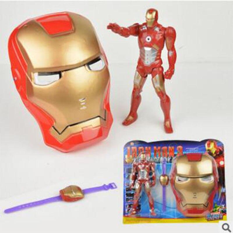LED Glowing Superhero Children Mask Spiderman Iron Man Hulk Batman Party Cartoon Movie Mask For Children's Day Cosplay