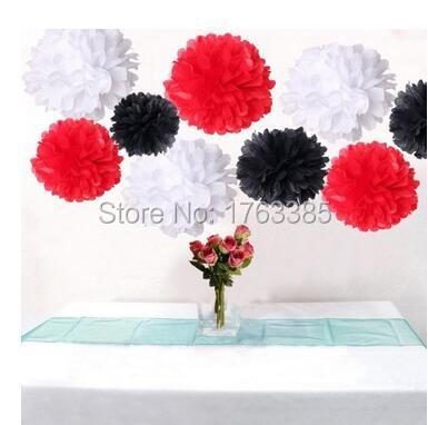 Set of 6 mixed red black white wedding flower diy tissue paper pom set of 6 mixed red black white wedding flower diy tissue paper pom poms anniversary birthday mightylinksfo