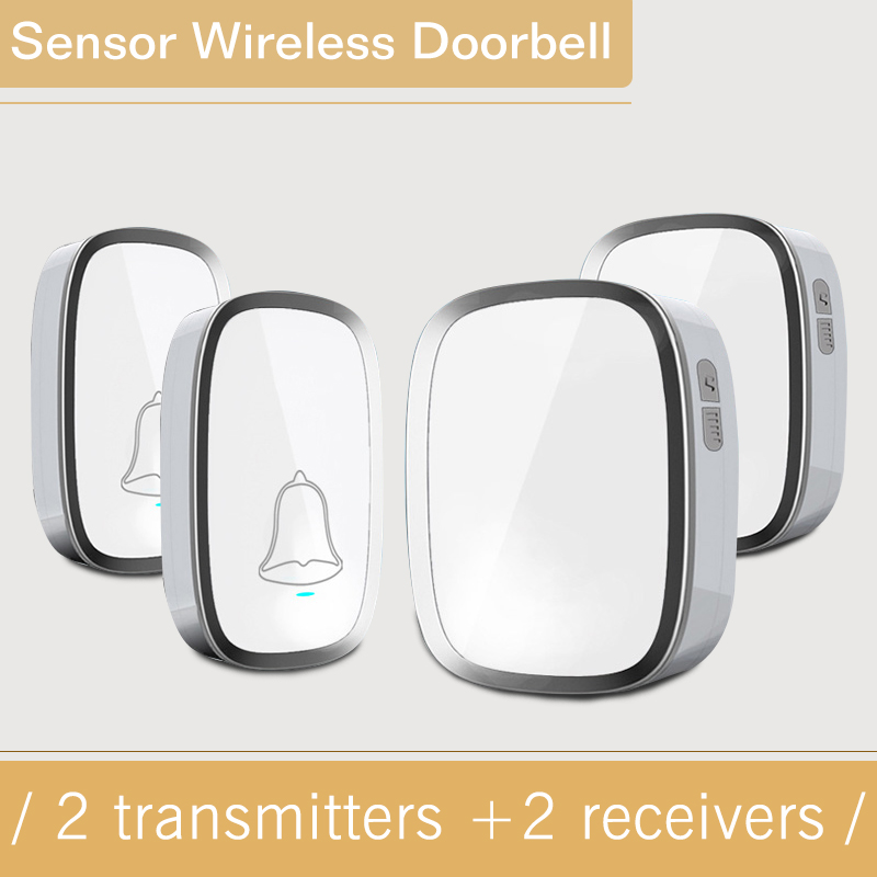 New White EU Home DoorBells Wireless Door Bell Waterproof Smart 36 Melody Doorbell With 2 transmitter+2 Indoor Bell Receivers new high quality wireless waterproof door bell 36 music melody 300m doorbell 3 transmitters 3 receiver home doorbells