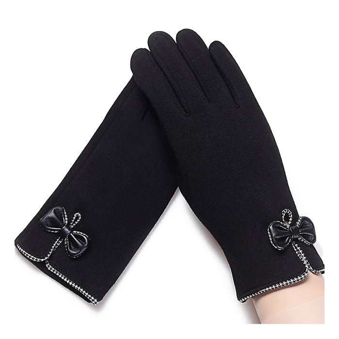 1PAIR Lady Glove Touch Screen Winter Lady Bowknot Gloves