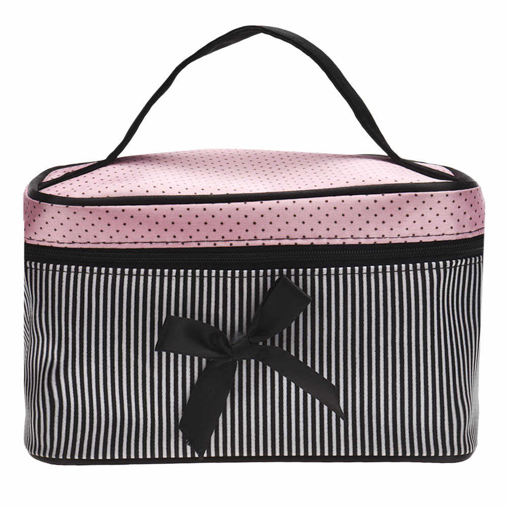 2cad498b90a364 Detail Feedback Questions about 100% New High Quality Cosmetic Bags Women's  Fashion Square Bow Stripe Functional Travel Beauty Makeup Bag Case Drop  Shipping ...