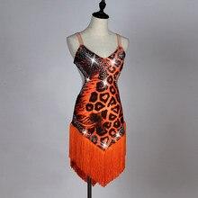 8238904b29ea Nuovo orange leopardo sexy costume di ballo latino Per adulti di sesso  femminile nappa diamante concorso spettacolo vestito valz.