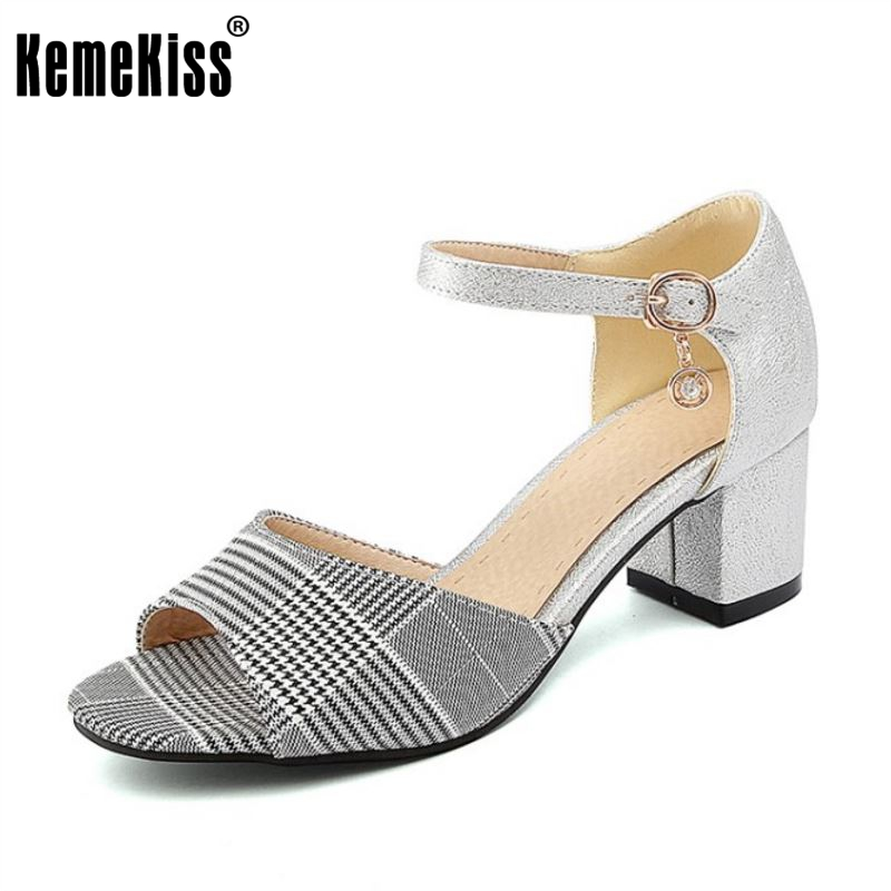 KemeKiss Size 32-48 Office Lady High Heel Sandals Ankle Strap Plaid Thick Heel Sandal Summer Vacation Party Club Shoes kemekiss size 32 43 sexy lady platform high heel shoes women ankle strap thick heel pumps party club office shoes women footwear