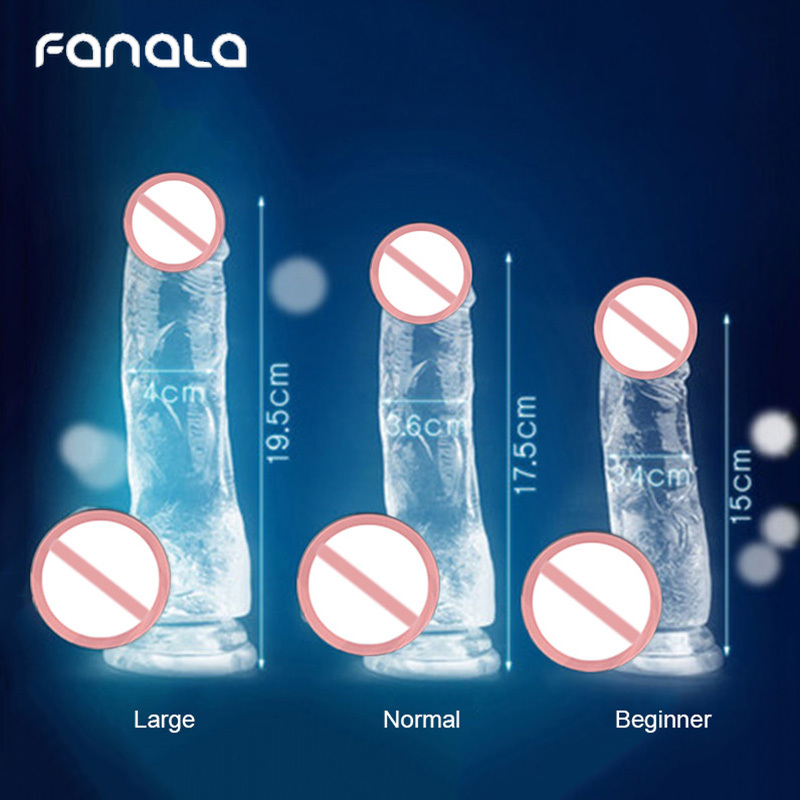 FanaLa Realistic <font><b>Dildo</b></font> Soft Crystal Penis Suction Cup Vaginal <font><b>Vibrator</b></font> for Woman Masturbator Huge Jelly <font><b>Dildo</b></font> Adult <font><b>Sex</b></font> <font><b>Toys</b></font> image