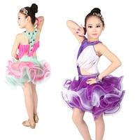 Professional Girls Kids Ballroom Rumba Samba Tango Latin Dance Dress Colorful Tulle Skirt Children Latin Competition