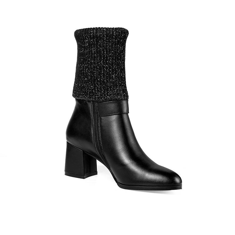 MORAZORA 2020 neue stil stiefeletten frauen einfache zipper schnalle echtes leder stiefel runde kappe high heels kleid schuhe damen-in Knöchel-Boots aus Schuhe bei  Gruppe 2