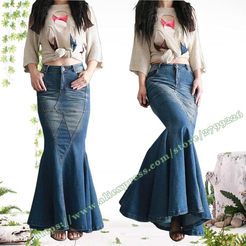 94436e387 € 42.82 |2017 primavera y otoño Retro Vintage Sexy cola de pez señoras  Jeans faldas largas/diseños Maxi faldas de mezclilla delgadas mujer en ...