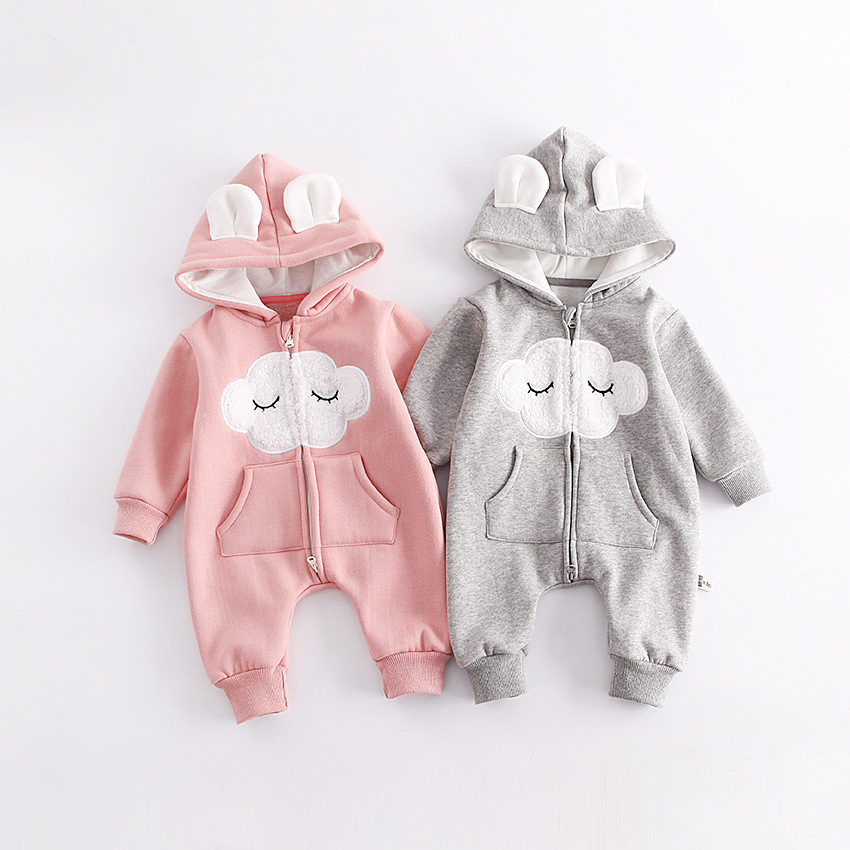 High Quality Newborn Girls Rompers Infant Clothes Cloud Pattern Baby Rompers Fleece Warm Jumpsuits Bebes Princess Baby Clothes new hot sale 2016 korean style boy autumn and spring baby boy short sleeve t shirt children fashion tees t shirt ages
