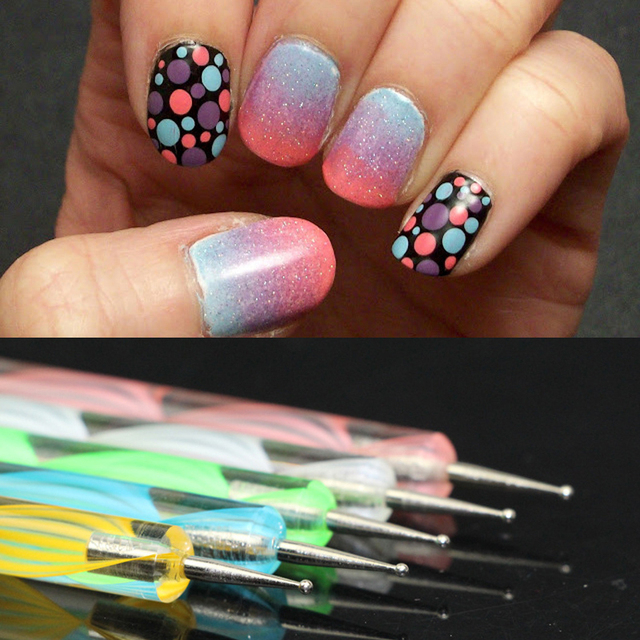 5pcs 2way Nail Art Dotting Pens Polish Pen Marbleizing Painting Dot Tool Diy