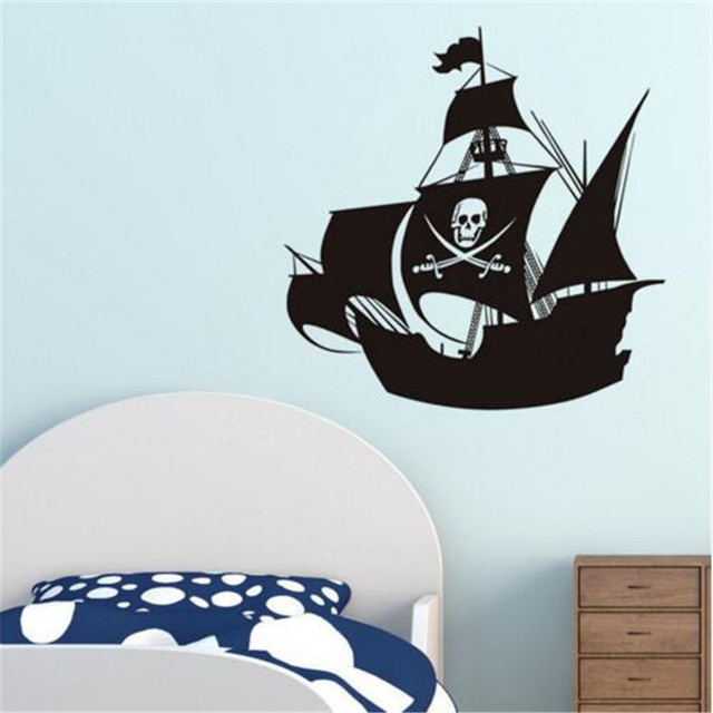 Pirate Ship Wall Stickers For Kids Room Decorative Vinyl Adhesive Wallpaper  Transport Wall Decals Home Decor