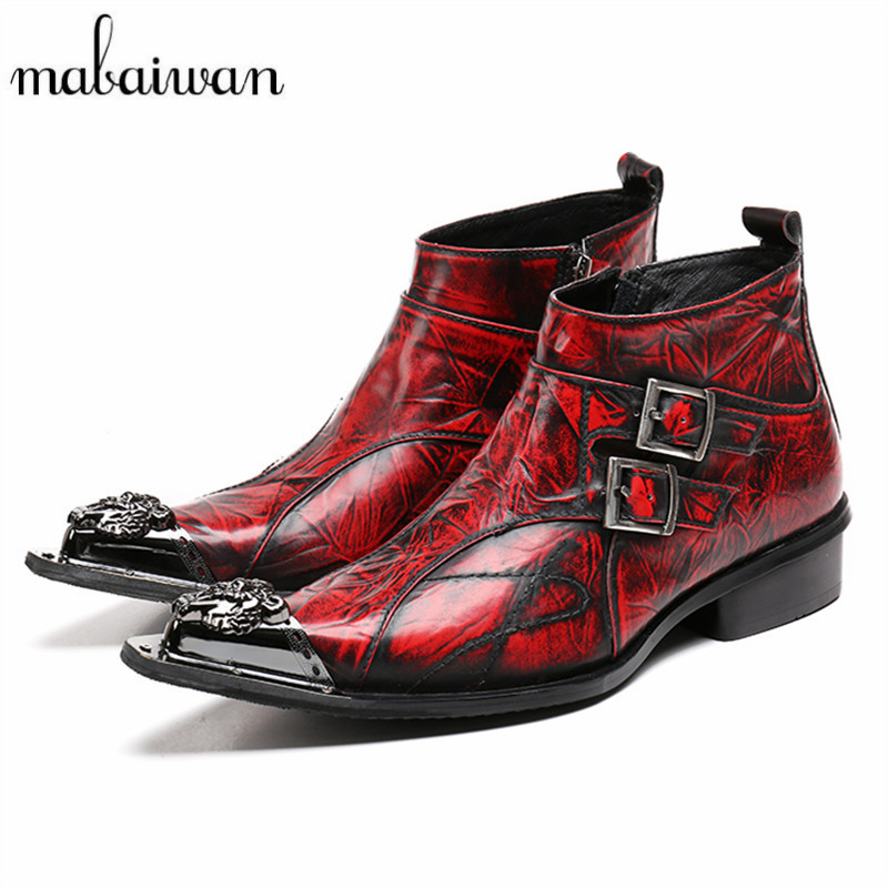 Mabaiwan Fashion Red Pointed Toe Men Ankle Boots Spring Autumn Genuine Leather Botas Hombre Cowboy Military Boots Dress Shoes british men ankle boots spring autumn pointed toe soft genuine leather botas hombre cowboy military booties wedding dress shoes