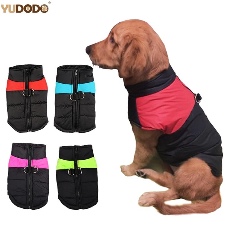 Hiver Chaud Chien Vêtements Étanche Zip-up Pet Rembourré Gilet Veste Manteau Pour Medium Large Chiens Ropa Para Perros S-5XL