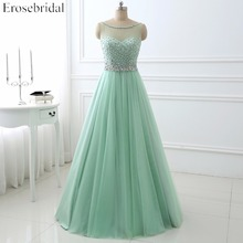 Elegant A-line Beaded Evening Dress Sleeveless Scoop Neck Long Formal Gown YY002