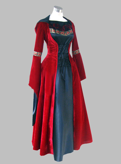 Gothic Black and Red Velvet & Silk like Historical Euro Court Dress Witch Costume Party Dress Cosplay Dress