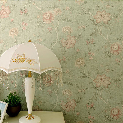 American Rural Countryside Large Bedroom Bedside Light Green Floral Wallpaper Vintage The Living Room TV