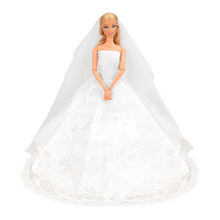 New Beautiful Handmade White Wedding Party Clothes Top Fashion Dress For Barbie Doll Accessories Child Girls' Gift present China handmade pure white wedding gown with sequin copy pearl beads gorgeous dress limited edition clothes for barbie doll kurhn fr