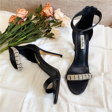 цена на Free shipping fashion women sandals Casual Designer Black matt leather strappy strass Ankle-Wrap high heels sandals shoes