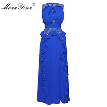 MoaaYina Designer Runway Silk Dress Summer Women Sleeveless Bowknot Ruffles Pleated Sexy Party Prom Noble Elegant Silk Dress
