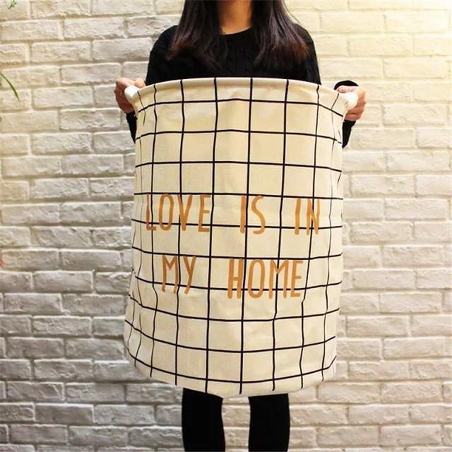 40*50 cm De Tela De Algodón Ecológico Bebé Juguetes Libros de Gran Paquete Escombros Cesto de la ropa A Cuadros 1 unids