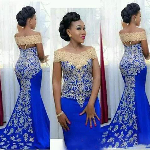 Elegant Aso Ebi Style Long Evening Gowns 2018 Mermaid Gold