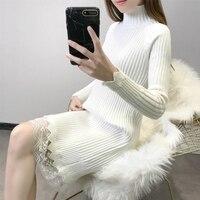 Lace Patchwork Knitted Cotton Sweater Dresses Bottom Lace Knitwear Women Vintage Loose Turtleneck Pullover Femme LJ0930