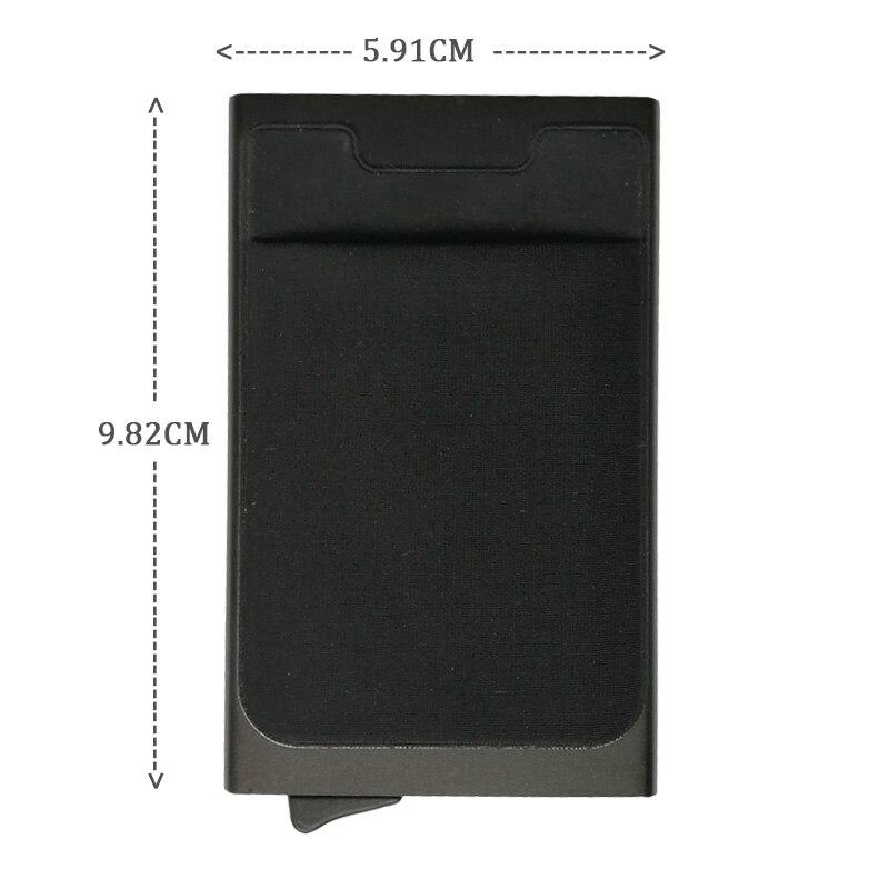 Алюминий бумажник с карманом ID Card Holder RFID Блокировка мини-тонкий металлический кошелек автоматические всплывающие кредитной карты случай п...