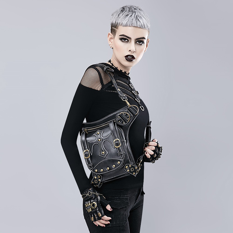 Black Leather Rivet Gothic Vintage Bag Motorcycle Steampunk Shoulder Waist Crossbody Messenger Bags For Women Corset Accessories