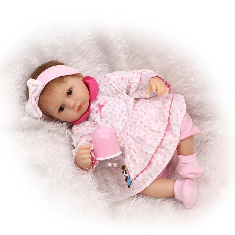 New Cute Adora Reborn Doll Magnetic Mouth Reborn Baby Doll Soft Silicone Lifelike Toy Gift For Children Christmas Pink Cothes