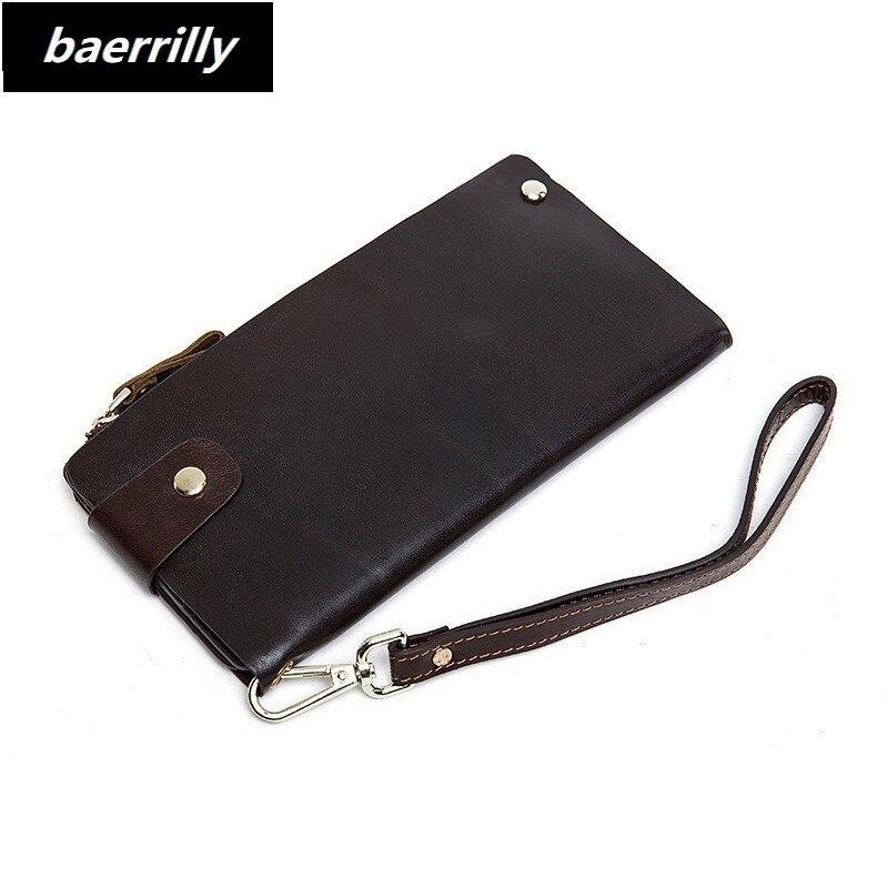 Men Wallets Genuine Cow Leather Long Clutch Purse Zipper & Hasp Men Walet Portomonee Rfid Luxury Brand Money Bag Coin Purse