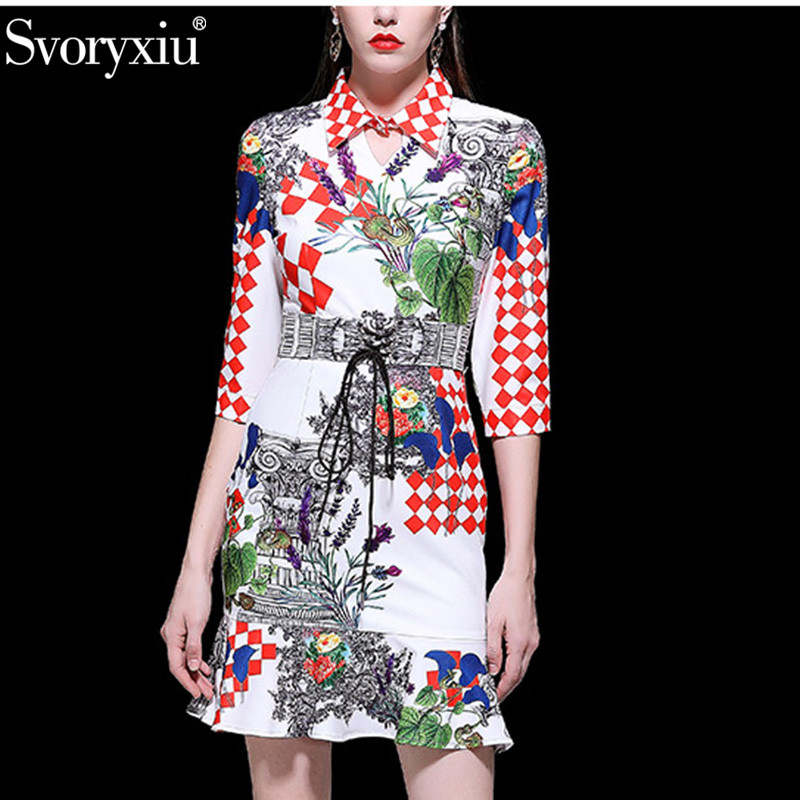 Svoryxiu Fashion Sexy Party Mermaid Short Dress Women s Slim Girdle Plaid Flower Print Spring Summer