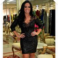 Black Sequins Robe De Cocktail Three Quarter Sleeve Backless Short Woman Cocktail Dress For Woman 2017 Sexy Cocktail Dress