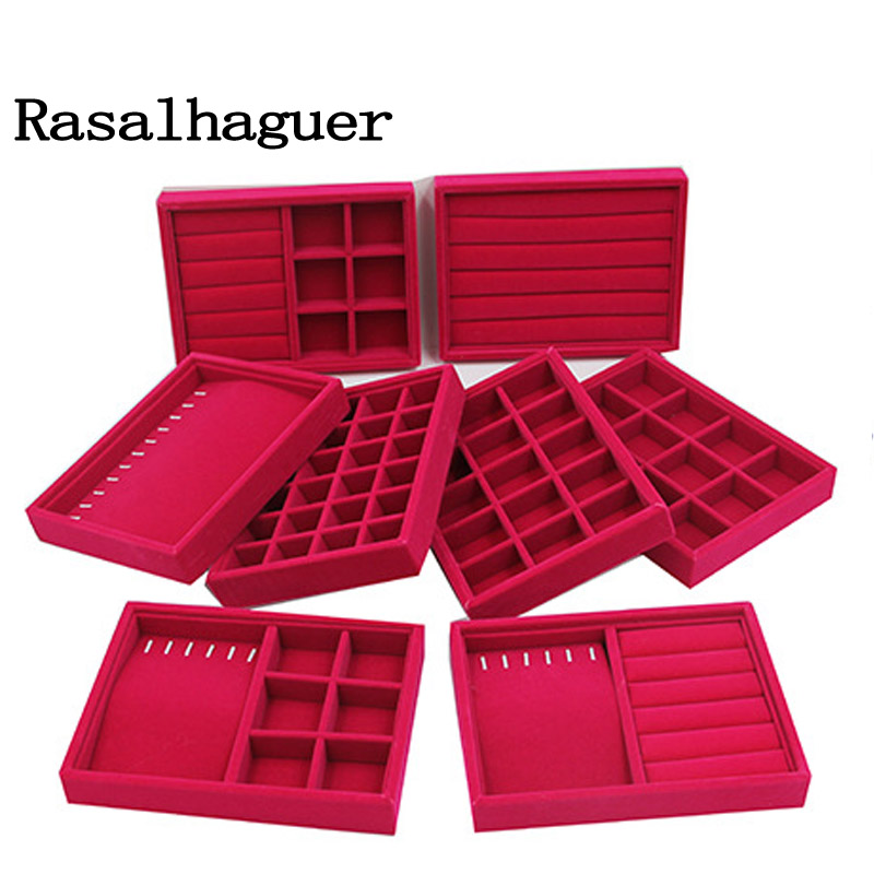 Jewelry Earrings Necklaces Pendants Bracelets Trays Holder Cases Velvet Jewelry Packaging Display 20*15*3cm  DIY Storages Trays
