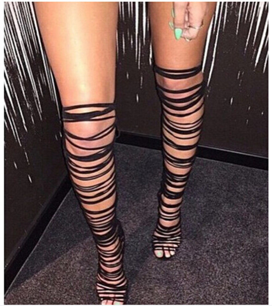 71b63e681eaa Summer Boots Sexy Strappy Cut Outs Thigh High Boots High Heels Over Knee  High Gladiator Sandals Women Boots Summer Style Botas